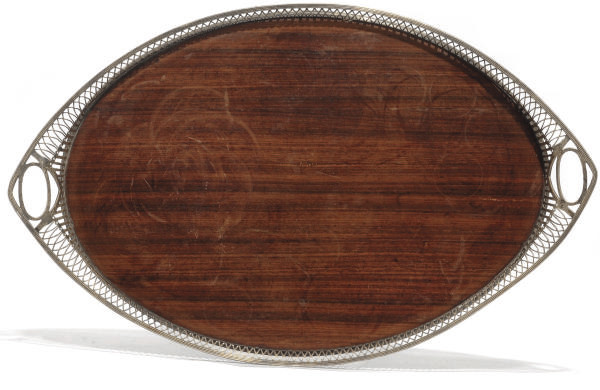 A SILVER-MOUNTED ROSEWOOD TRAY