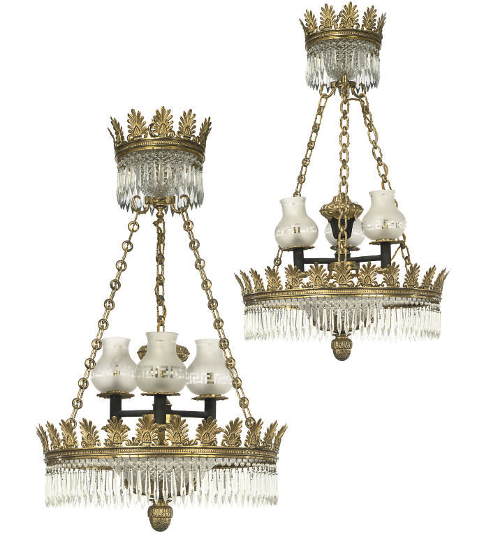 A PAIR OF GILT-BRASS AND GLASS