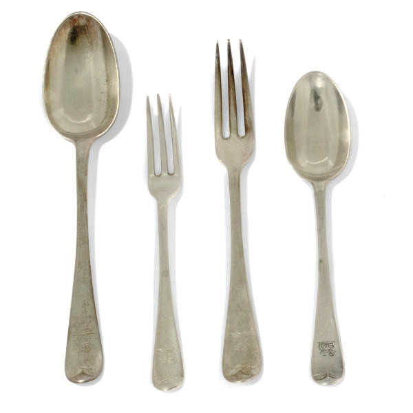 A PART-TABLE SERVICE OF HANOVERIAN PATTERN SILVER FLATWARE