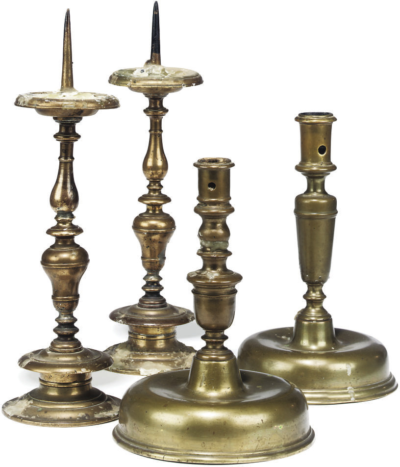 TWO SINGLE FLEMISH BRASS CANDL