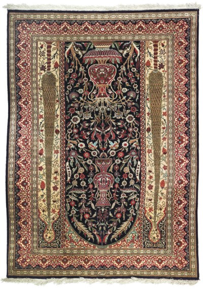 A very fine silk prayer rug