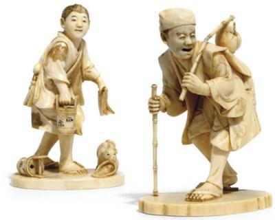 Two Japanese ivory okimono