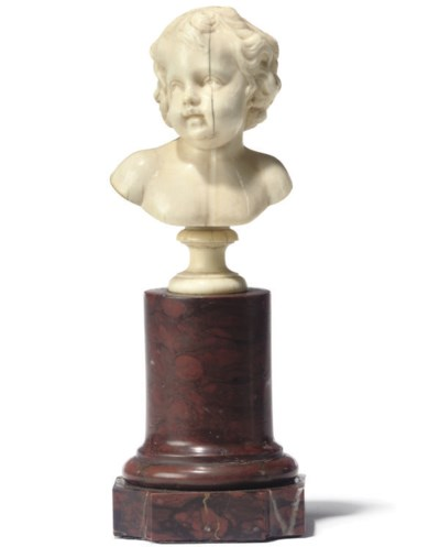 A FRENCH IVORY BUST OF A PUTTO