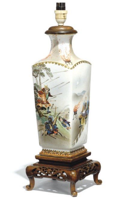 A JAPANESE VASE MOUNTED AS A L