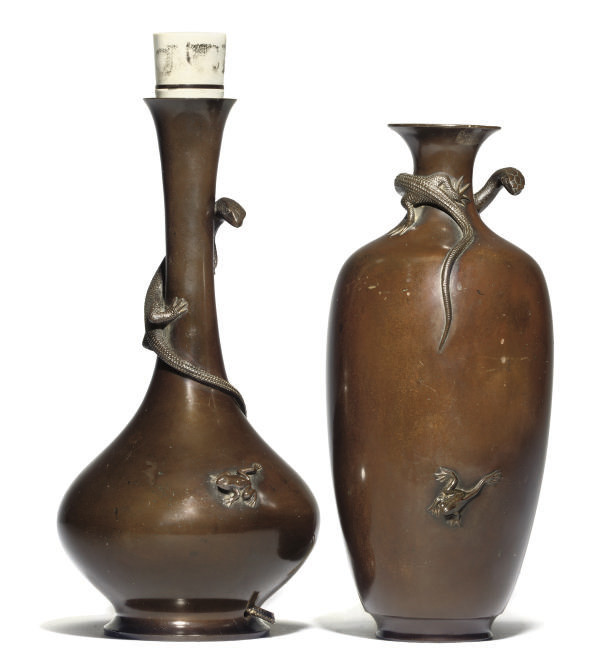 TWO JAPANESE BRONZE VASES MOUN