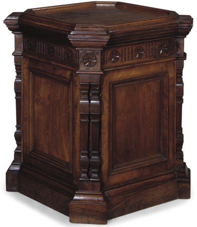 A LATE VICTORIAN WALNUT PEDEST