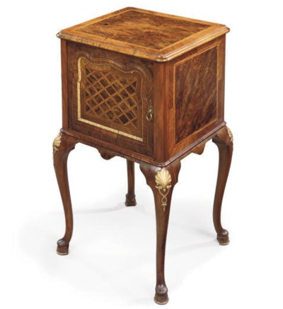 A WALNUT PARCEL-GILT AND MARBL