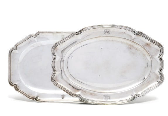A FRENCH SILVER SHAPED OBLONG