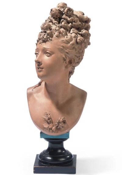 A TERRACOTTA BUST OF FLORA