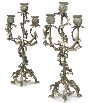 A PAIR OF SILVER-PLATED BRONZE
