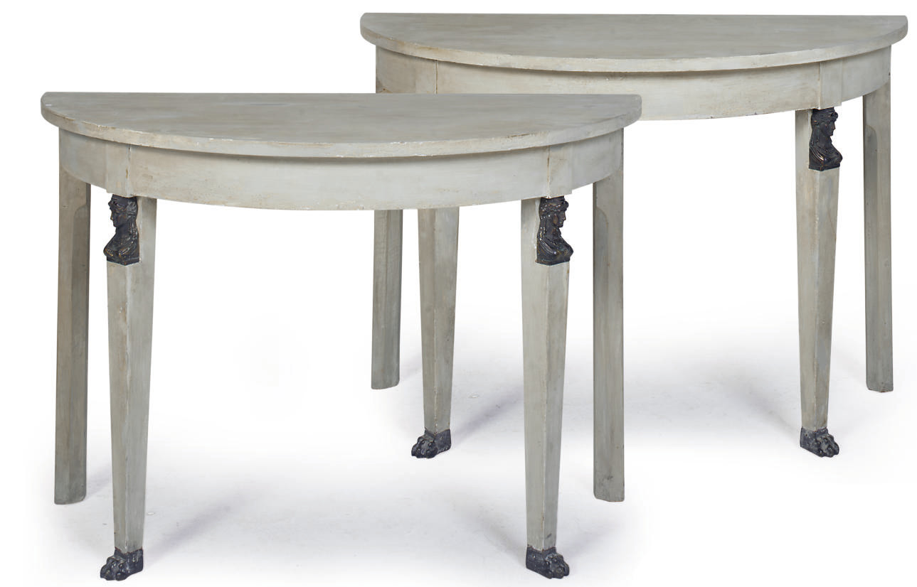 A PAIR OF GREY-PAINTED DEMI-LU