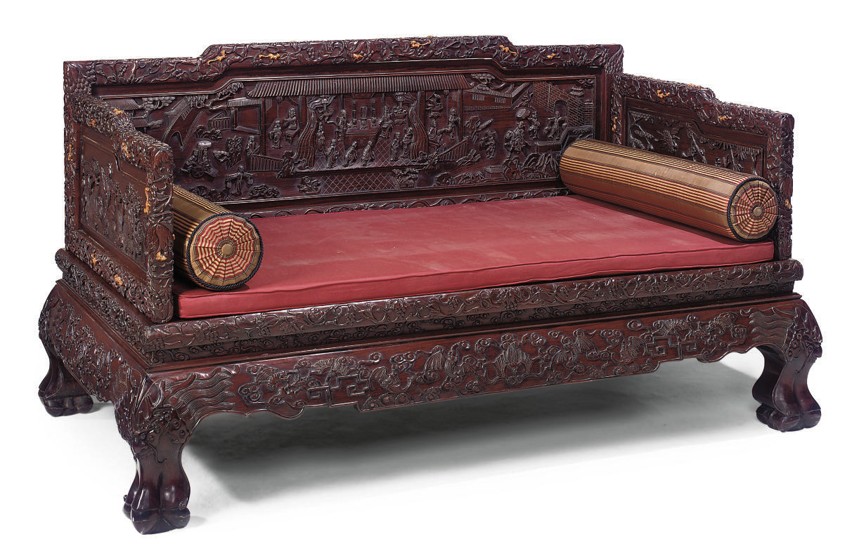 A CHINESE HARDWOOD DAYBED