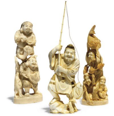Three Japanese ivory Okimono