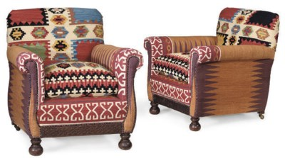 A PAIR OF KILIM UPHOLSTERED AR