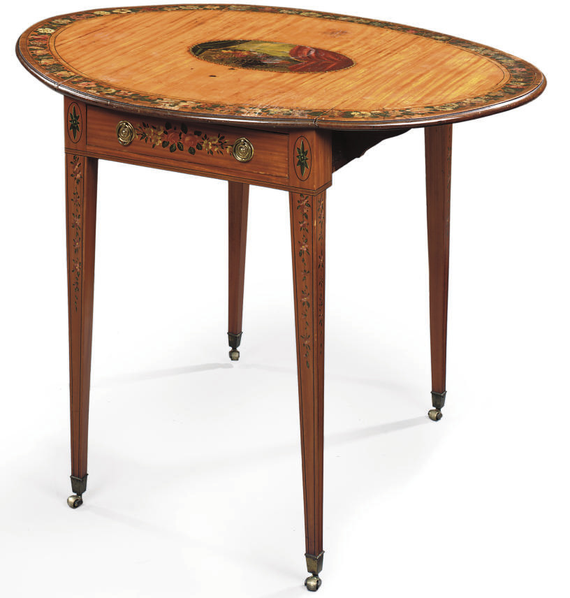 A GEORGE III POLYCHROME-DECORATED SATINWOOD PEMBROKE TABLE