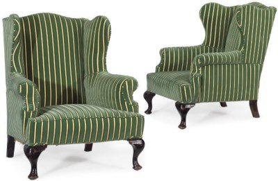 A MATCHED PAIR OF UPHOLSTERED