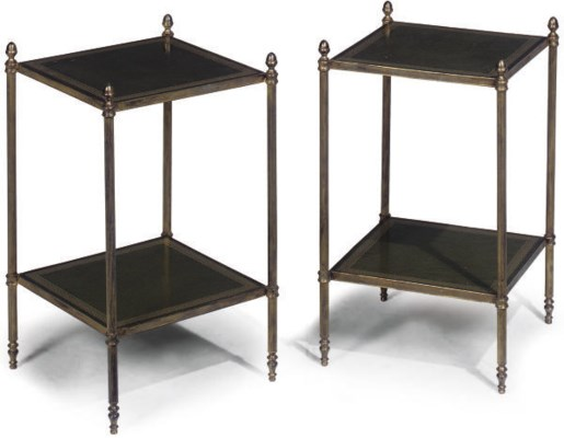 A PAIR OF BRASS TWO-TIER ETAGE