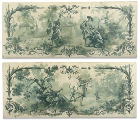 A PAIR OF PAINTED CHINOISERIE