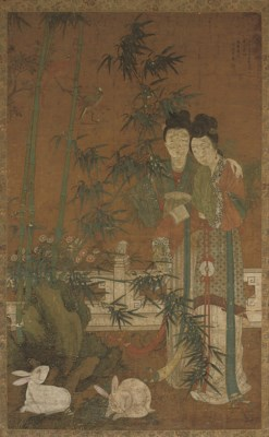 A LARGE CHINESE HANGING SCROLL
