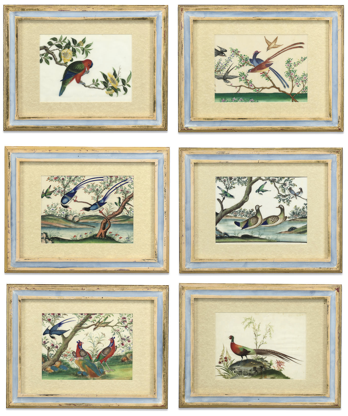 A SET OF TWELVE CHINESE RICE PAPER PAINTINGS