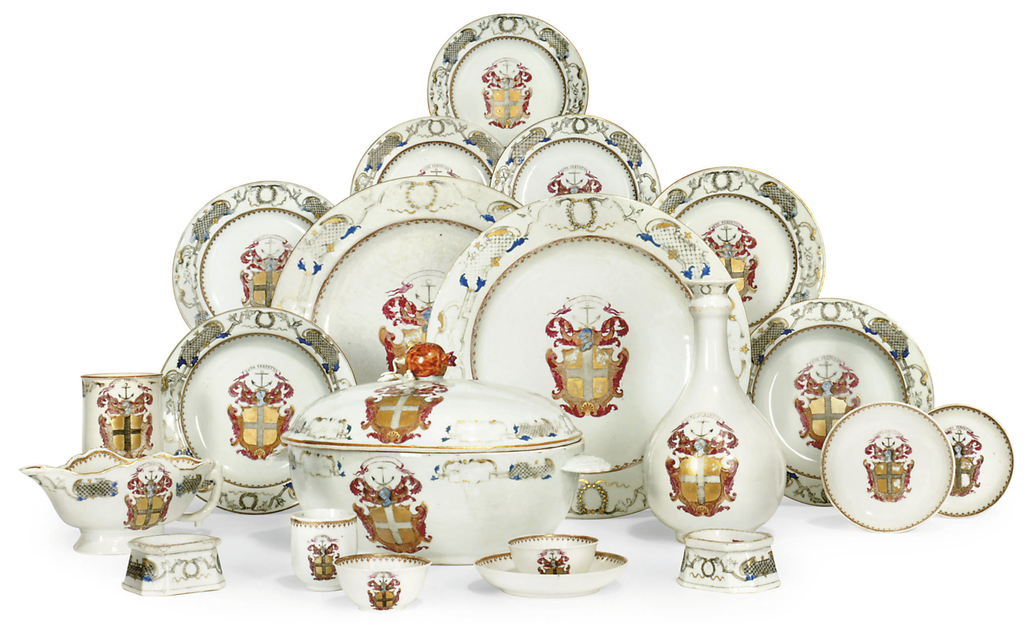 A CHINESE EXPORT ARMORIAL PART DINNER SERVICE