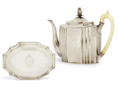 A GEORGE III SILVER TEAPOT AND