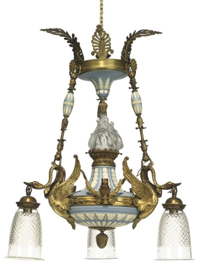 A GILT-BRONZE MOUNTED BLUE AND