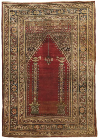 A FINE SILK TABRIZ PRAYER RUG,