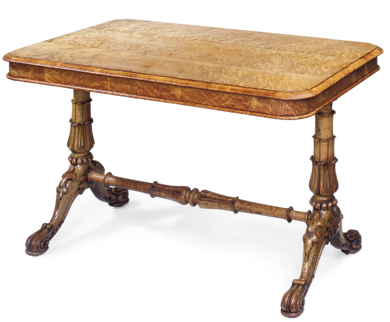 A WILLIAM IV MAPLE LIBRARY TABLE