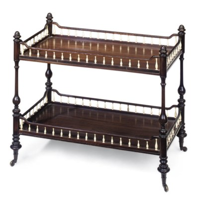 A MAHOGANY AND IVORY TWO TIER