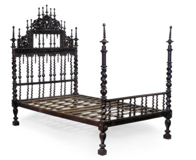 A PORTUGUESE ROSEWOOD BED