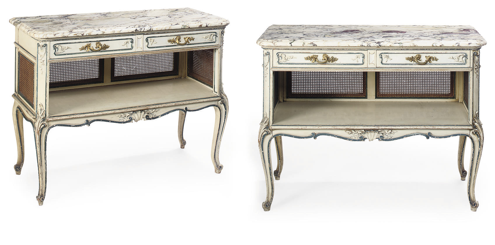 A PAIR OF FRENCH PAINTED AND CANED BUFFETS