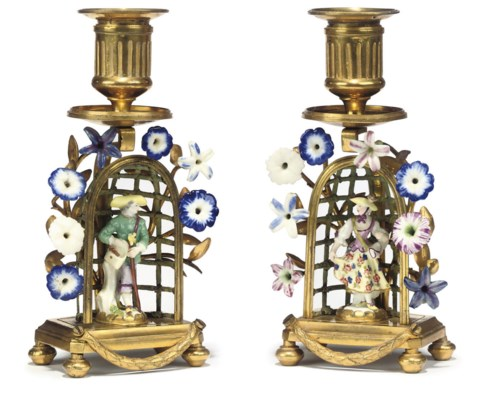 A PAIR OF FRENCH PORCELAIN-MOU