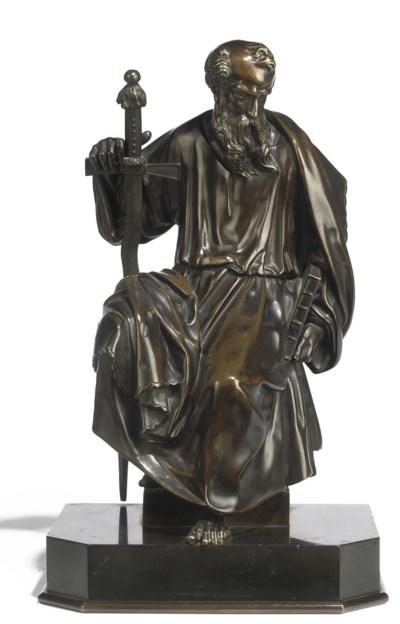 A BRONZE FIGURE OF ST.PAUL