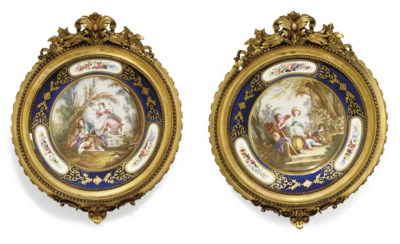 TWO SEVRES-STYLE CIRCULAR PLAQ