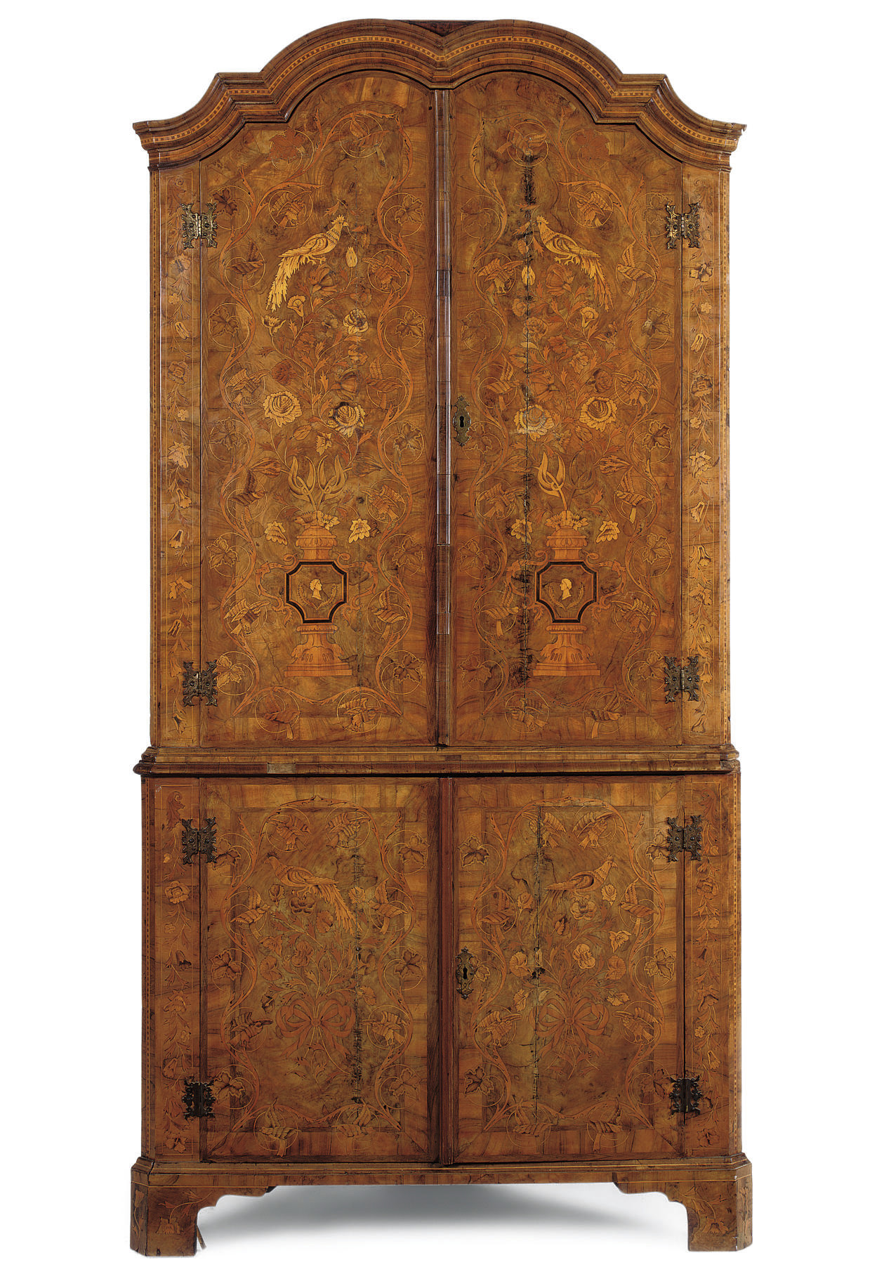 A DUTCH WALNUT AND FLORAL MARQUETRY CORNER CABINET