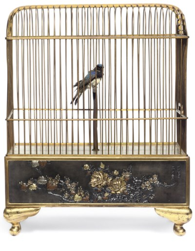 AN AUTOMATED BRONZE BIRDCAGE