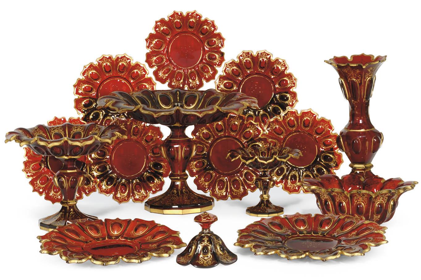 A BOHEMIAN RUBY AND GILT-GLASS