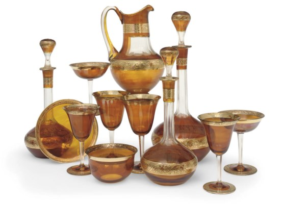 A CONTINENTAL AMBER-STAINED AN