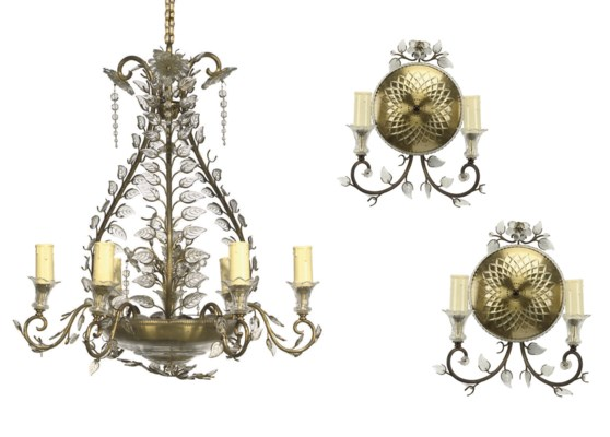 A FRENCH GILT BRASS AND GLASS