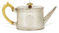 A GEORGE III OVAL SILVER TEAPOT WITH BEAD BORDERS