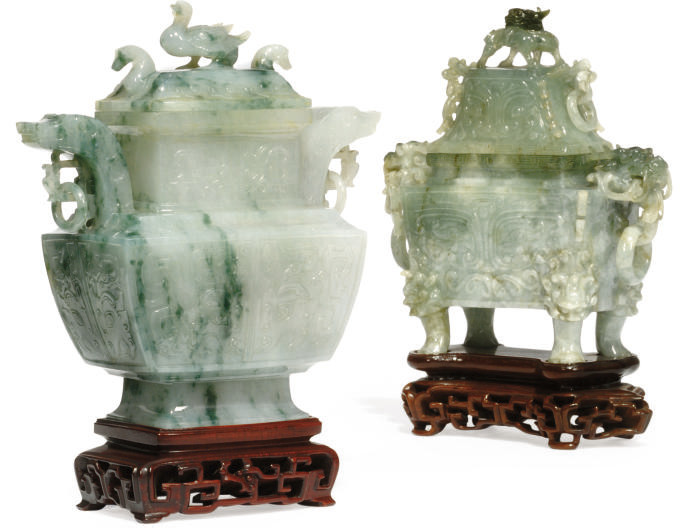 TWO CHINESE JADEITE VASES AND