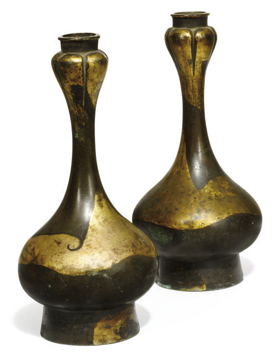 A PAIR OF CHINESE PARCEL GILT