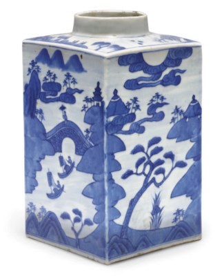 A Chinese blue and white squar
