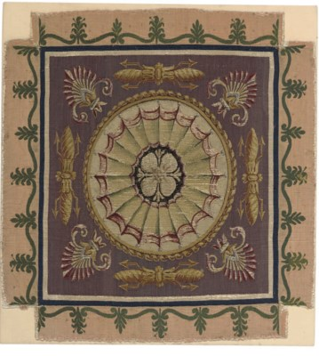 A MOUNTED TAPESTRY PANEL