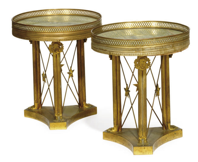 A PAIR OF FRENCH GILT BRASS AN