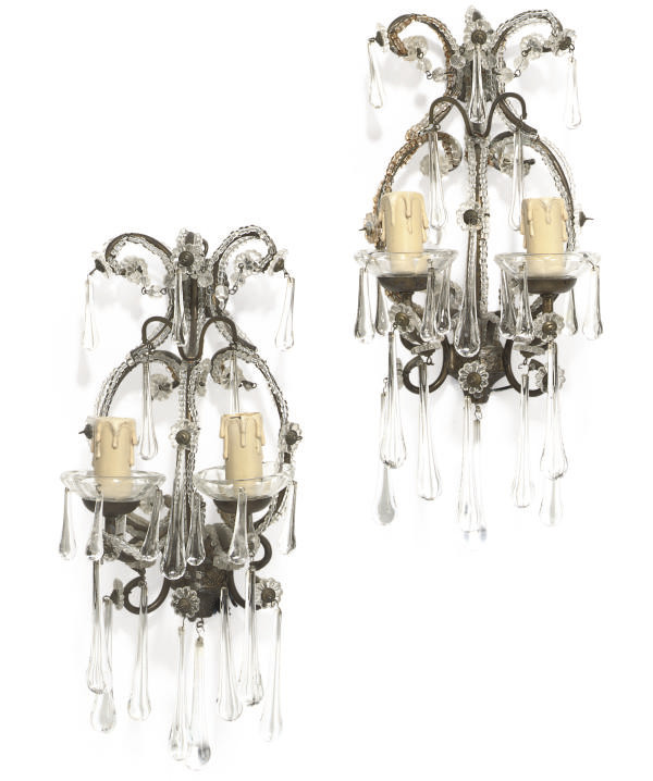 A PAIR OF FRENCH GLASS TWIN BR