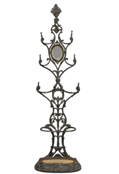 A FRENCH CAST-IRON HALL STAND