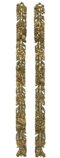 A PAIR OF GILT-WOOD PIERCED PI