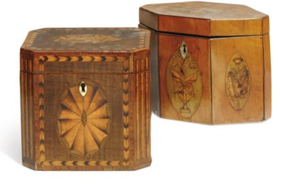A GEORGE III MARQUETRY AND MAH